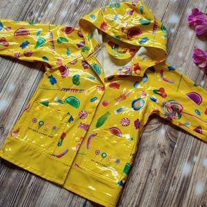 Little girls 4T yellow Candy Rain Coat Hooded